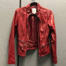 guess jackets coats red leather