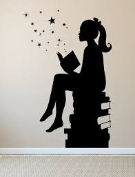 Large Size Original Design Girl Reading Books Magic Wall Decal Vinyl Art Stickers For Interiors Schools Classrooms Libraries Bedrooms Anastasia