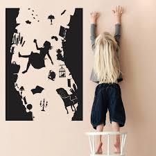 Alice In Wonderland Wall Sticker Art Vinyl Home Decor Falling Down The Rabbit Hole Wall Decal Diy Removable Cartoon Kids Room Alice In Wonderland Wall Wall Decalskids Room Aliexpress
