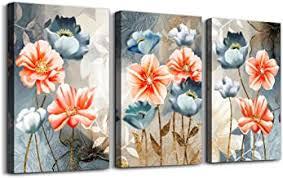 Amazon Com 3 Piece Flowers Wall Art