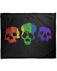 Can't Miss Deals on ArtVerse Katelyn Smith Rainbow Skulls Blanket-Coral  Fleece, 30 x 40, Black & Rainbow