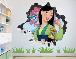 Amazon Com Princess Mulan Wall Decal Smashed 3d Sticker Vinyl Decor Mural Disney Broken Wall 3d Designs Ah112 Small Wide 22 X 16 Height Home Kitchen