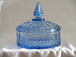 antique blue glass candy dish