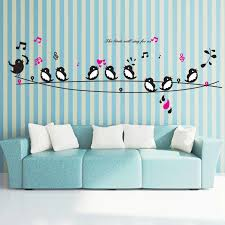 Happy Birds Music Song Wall Stickers Living Room Bedroom Tv Sofa Background Wall Decals Decoration Art Mural Poster Wall Stickers Aliexpress