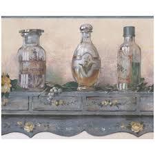 herbal oil jars prepasted wallpaper
