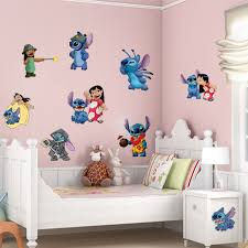 Cartoon Wall Stickers For Kids Rooms Lilo Stitch Wall Decal Green Vinyl Stickers Waterproof Wallpaper For Bathroom Home Decor Wallpaper Stars Wallpaper Waterproofsticker Border Aliexpress