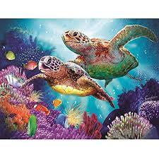 3d three turtle seascape 3 inch glass