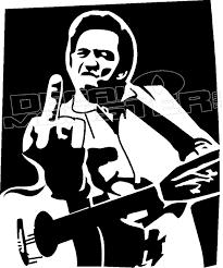 Johnny Cash Middle Finger 2 Decal Sticker Decalmonster Com