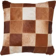 hide throw pillow 18x18 brown