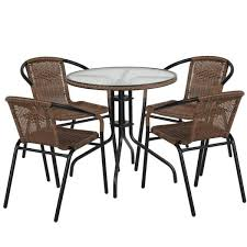 metal frame with round glass table