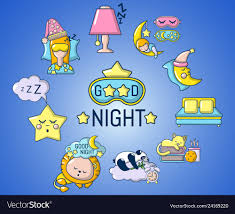 good night concept banner cartoon style