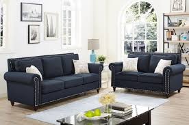 trevino dark blue linen sofa set