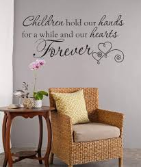 Amazon Com Decor Designs Decals Children Hold Our Hands For A While And Our Hearts Forever Quote Vinyl Wall Decal 30 Wide By 14 High Home Kitchen