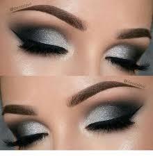silver and black smokey eye makeup