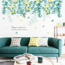 Custom Size Blue Green Hanging Flower Vines Wall Stickers Romantic Drop Floral Decal Nature Plants Living Room Home Decor Greenery Thefuns On Artfire