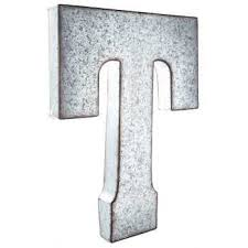 galvanized metal letter wall decor t