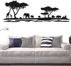 Amazon Com Safari Africa Forest Animal Wall Decal Removable Vinyl Home Decor Wall Sticker Living Room Sofa Background Decor Sticker Decoration Interior Mural Ny 228 Black 42x130cm Home Kitchen