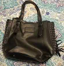 black leather studded handbag tote