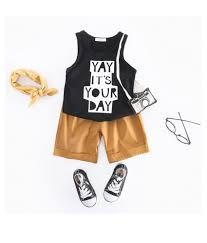 summer clothes set letter printed tops