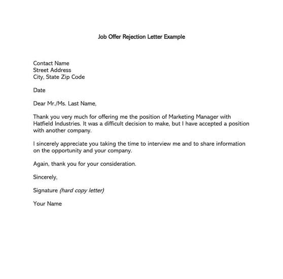 how to write a letter to reject an job or interview