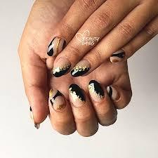 foil gold black nail art design winter