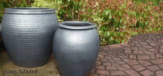 large siver grey garden pots