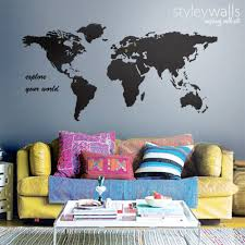 World Map Wall Decal Home Decor Office Living Room Decor World Map Styleywalls On Artfire