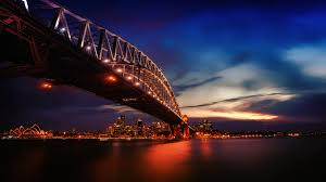 city lights sydney harbour bridge 4k