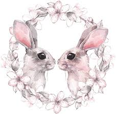 Amazon Com Ew Designs Adorable Watercolor Bunny Rabbit Couple With Flower Border Vinyl Decal Bumper Sticker 4 Wide Kitchen Dining