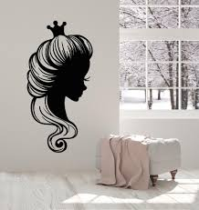 Vinyl Wall Decal Princess Face Profile Hair Salon Crown Stickers Mural Wallstickers4you