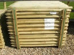 1 2m 4ft X 50mm Round Wooden Treated Fence Posts Tree Wood Ebay