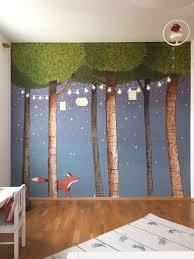 Wallpainting Kids Room Forrest Glow In The Dark Stars Little Fox Fox Nursery Decor Kids Room Paint Monkey Nursery Decor