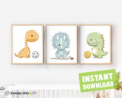 Set Of 3 Dinosaurs Print Kids Room Printable Wall Decor