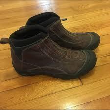 waterproof brown leather zipper boots