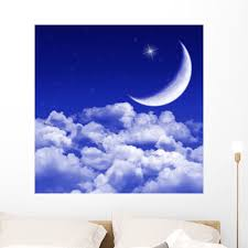 New Moon And Stars Wall Mural Decal By Wallmonkeys Vinyl Peel And Stick Graphic 36 In H X 36 In W Walmart Com Walmart Com
