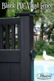 Incredible Black Craftsman Style Pvc Vinyl Privacy Pool Fence Idea From Illusions Vinyl Fence Is A Perfect Back Vinyl Fence Vinyl Privacy Fence Backyard Fences