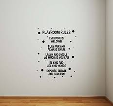 Playroom Rules Wall Decal Poster Children Room Sign Nursery Quote Inspirational Christmas Gift Idea Vinyl Sticker Play Game Room Home Child Baby Kids Bedroom Decor Art Mural Print 830 Wantitall