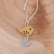 new cute birds pendant gold silver bird