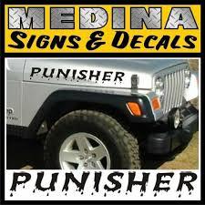 Punisher Hood Decals Stickers Jeep Wrangler Rubicon Jk Cj Tj Yj Any
