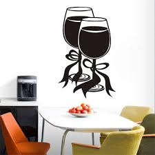 Amazon Com Wall Stickers Decal Removable Vinyl Decal Quote Art Modern Style Restaurant Home Two Glasses Of Wine With Bow Ribbon Kitchen Decorative Rooms Stickers Decals Home Kitchen