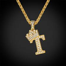 iced out alphabet t necklace crown diy