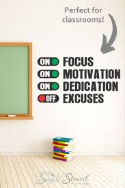 Focus Motivation Dedication On Excuses Off Wall Decal Art Removable Vinyl Sticker Decor To Inspire Classroom Wall Quotes Classroom Walls Decal Wall Art