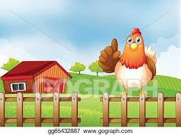 Vector Clipart A Chicken Above A Wooden Fence At The Farm Vector Illustration Gg65432887 Gograph
