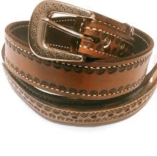 60s 70s mens tooled brown leather belt