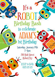 Fun Robot Birthday Invitation Printable Birthday Invitation Diy