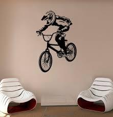 Bmx Bike Wall Decal Bicyclist Vinyl Sticker Cycle Racing Etsy