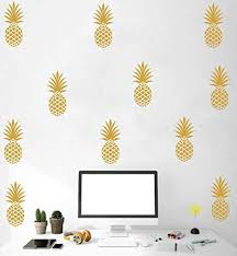 Amazon Com Pineapple Wall Decal Large 12 Set Pineapples Sticker Home Decor Nursery Kids Bedroom Vinyl Wall Decal Mural 8 H X 3 5 W Each Gold Arts Crafts Sewing
