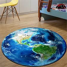 Amazon Com Iumer Earth Moon Carpet Kids Rug World Map Round Baby Crawling Mats Game Blanket For Living Room Bedroom Non Slip Earth Furniture Decor