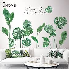 Tropical Leaves Wall Sticker Diy Nodic Style Plant Wall Decals For Living Room Bedroom Decoration Home Decor Sticker Wall Decals Wall Stickers Aliexpress