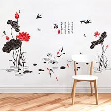 Lotus Flowers Flying Birds Dragonfly Swimming Fish Wall Stickers Traditional Chinese Culture Wall Decals Home Decor Wall Posters Wallpaper Wall Quotes Wall Quotes Decals From Magicforwall 6 83 Dhgate Com